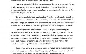 SE SUSPENDE EL SERVICIO DE REVISIÓN TÉCNICA EN LONQUIMAY