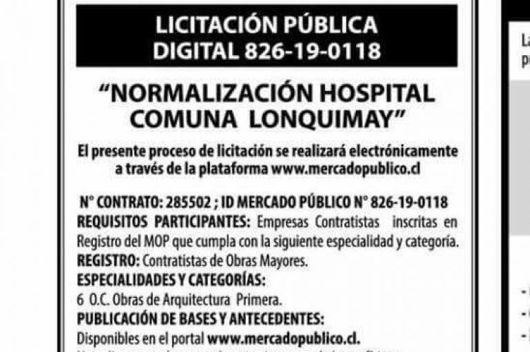 Licitación de nuestro Hospital de Lonquimay.