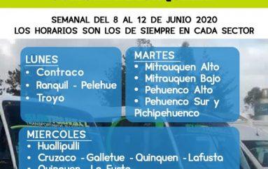 CALENDARIO DE RECORRIDOS RURALES.